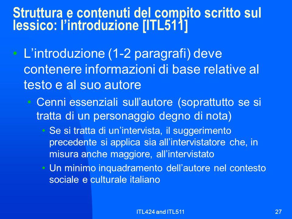 Struttura e contenuti del compito scritto sul lessico: l'introduzione [ITL511]
